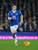Seamus Coleman of Everton during the Barclays Premier League match between Everton and Tottenham Hotspur at Goodison Park on January 3 2016 in...