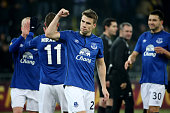 Seamus Coleman of Everton FC and his teammates celebrate victory after the UEFA Europa League Round of 32 match between BSC Young Boys and Everton FC...