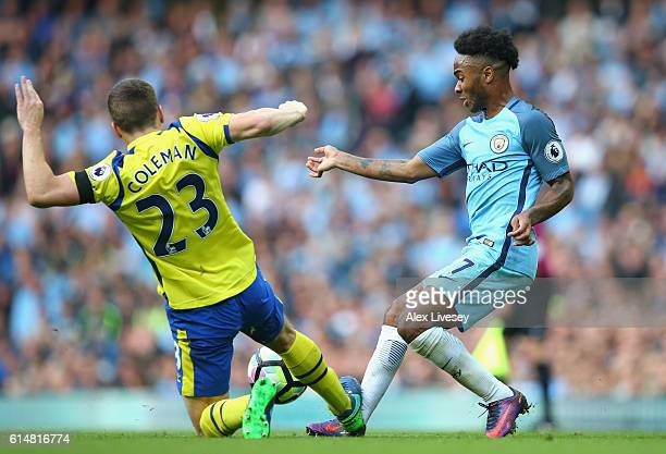 Seamus Coleman of Everton fouls Raheem Sterling of Manchester City during the Premier League match between Manchester City and Everton at Etihad...