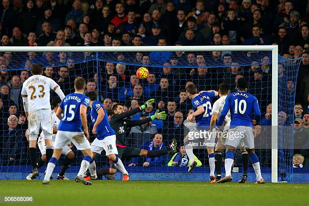 Seamus Coleman of Everton hits a late attempt over the bar during the Barclays Premier League match between Everton and Swansea City at Goodison Park...