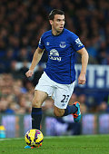 Seamus Coleman of Everton in action during the Barclays Premier League match between Everton and West Ham United at Goodison Park on November 22 2014...
