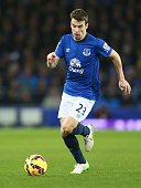 Seamus Coleman of Everton in action during the Barclays Premier League match between Everton and Manchester City at Goodison Park on January 10 2015...