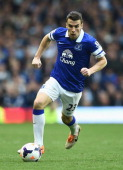 Seamus Coleman of Everton in action during the Barclays Premier League match between Everton and Manchester City at Goodison Park on May 3 2014 in...