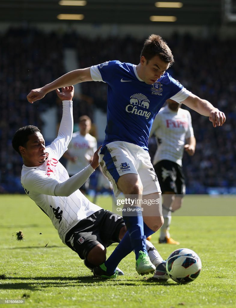 <a gi-track='captionPersonalityLinkClicked' href=/galleries/search?phrase=Seamus+Coleman&family=editorial&specificpeople=6005260 ng-click='$event.stopPropagation()'>Seamus Coleman</a> of Everton is tackled by <a gi-track='captionPersonalityLinkClicked' href=/galleries/search?phrase=Urby+Emanuelson&family=editorial&specificpeople=594399 ng-click='$event.stopPropagation()'>Urby Emanuelson</a> of Fulham during the Barclays Premier League match between Everton and Fulham at Goodison Park on April 27, 2013 in Liverpool, England.