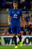 Seamus Coleman of Everton looks on during the Pre Season Friendly between Tranmere Rovers and Everton at Prenton Park on July 22 2014 in Birkenhead...