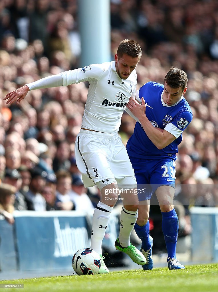 Seamus Coleman of Everton marshalls Gylfi Sigurdsson of Tottenham Hotspur during the Barclays Premier League match between Tottenham Hotspur and Everton at White Hart Lane on April 7, 2013 in London, England.