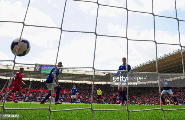 Seamus Coleman of Everton puts his head in his hands as scores an own goal to makes it 20 during the Barclays Premier League match between...