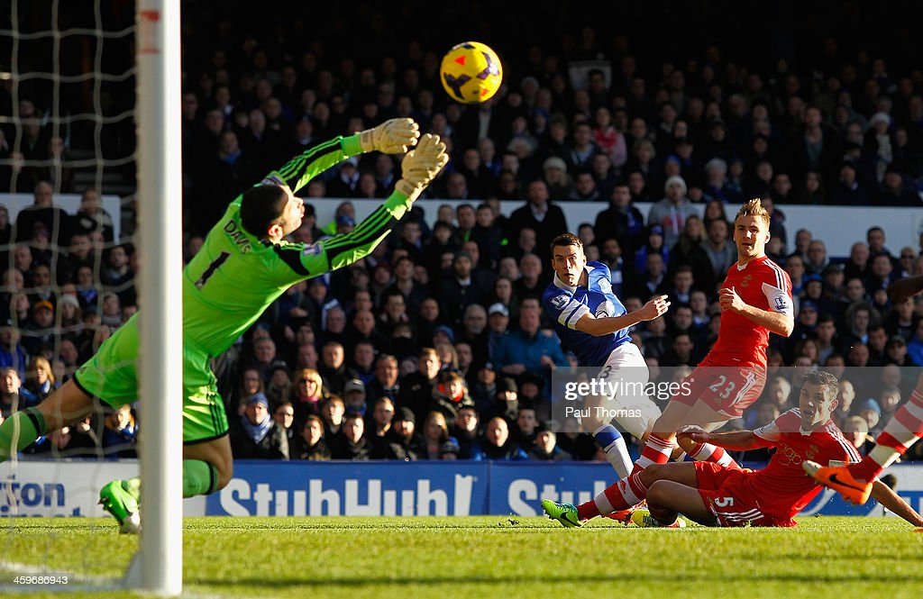 <a gi-track='captionPersonalityLinkClicked' href=/galleries/search?phrase=Seamus+Coleman&family=editorial&specificpeople=6005260 ng-click='$event.stopPropagation()'>Seamus Coleman</a> of Everton scores the opening goal during the Barclays Premier League match between Everton and Southampton at Goodison Park on December 29, 2013 in Liverpool, England.