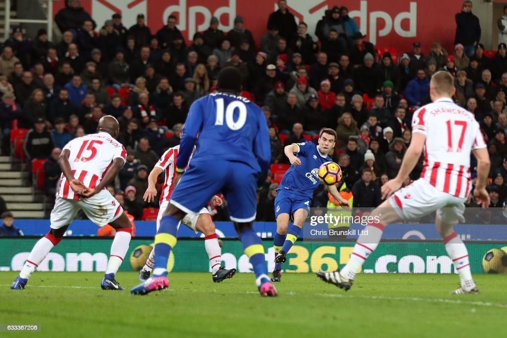 Seamus Coleman of Everton shoots at goal in the build up to an own goal by Ryan Shawcross of Stoke City during the Premier League match between Stoke City and Everton at the Bet365 Stadium on February 1, 2017 in Stoke-on-Trent, England.