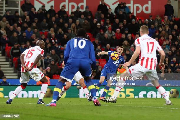 Seamus Coleman of Everton shoots at goal in the build up to an own goal by Ryan Shawcross of Stoke City during the Premier League match between Stoke...