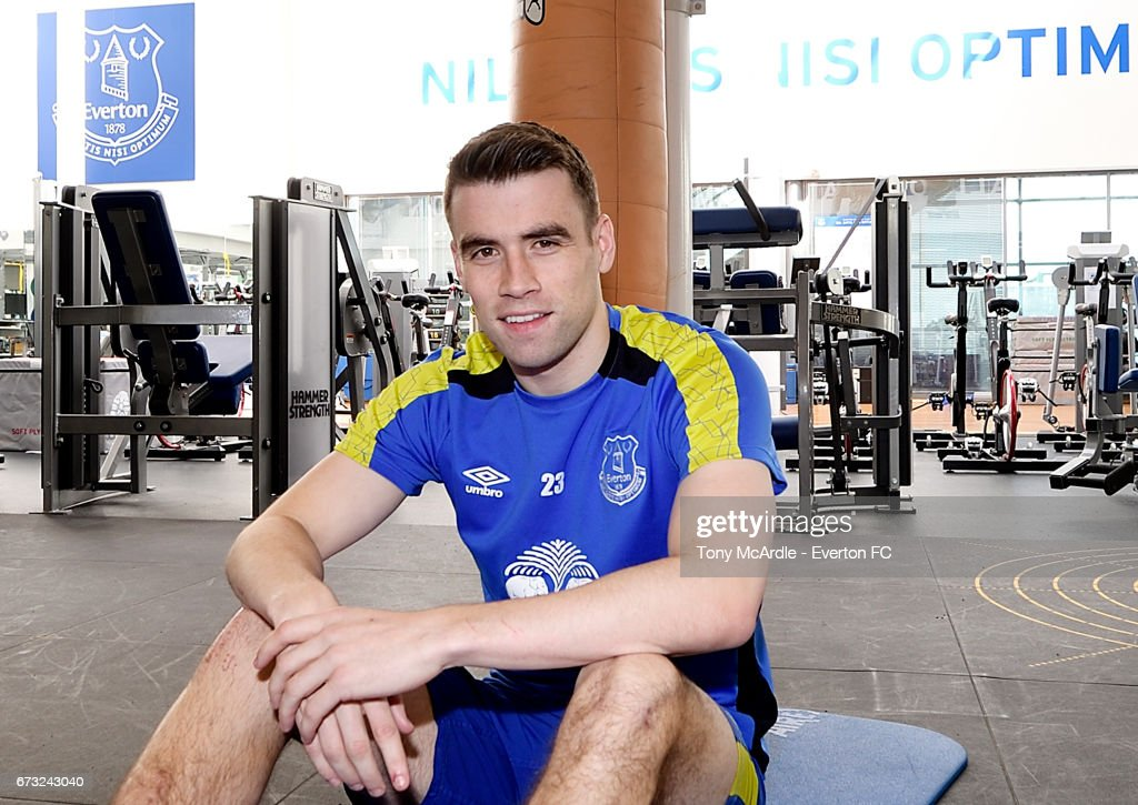 Seamus Coleman of Everton works on his recovery from injury at USM Finch Farm on April 26, 2017 in Halewood, England.