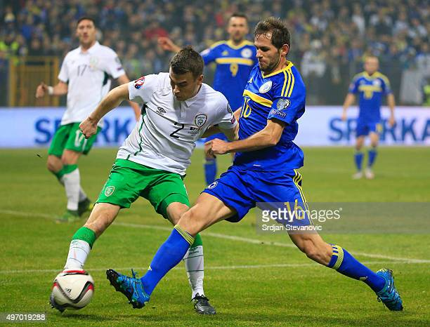 HERZEGOVINA NOVEMBER 13 Seamus Coleman of Ireland in action against Senad Lulic of Bosnia during the EURO 2016 Qualifier PlayOff First Leg between...