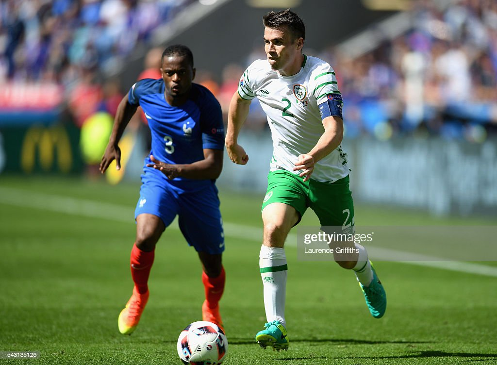 Seamus Coleman of Republic of Ireland in action during the UEFA EURO 2016 round of 16 match between France and Republic of Ireland at Stade des Lumieres on June 26, 2016 in Lyon, France.