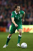 Seamus Coleman of Republic of Ireland on the ball during the Euro 2016 qualifying football match between Republic of Ireland and Polandat Aviva...