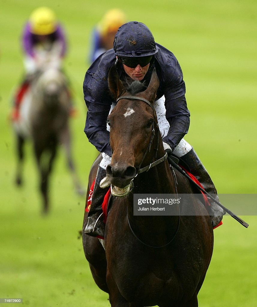 Seamus Hefferman and Soldier Of Fortune return after landing The Budweiser Irish Derby Race run at The Curragh Racecourse on July 1 in The...