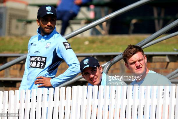 Sean Abbott and Jason Sangha of Cricket NSW looks on during the Cricket NSW Intra Squad Match at Hurstville Oval on September 2 2017 in Sydney...