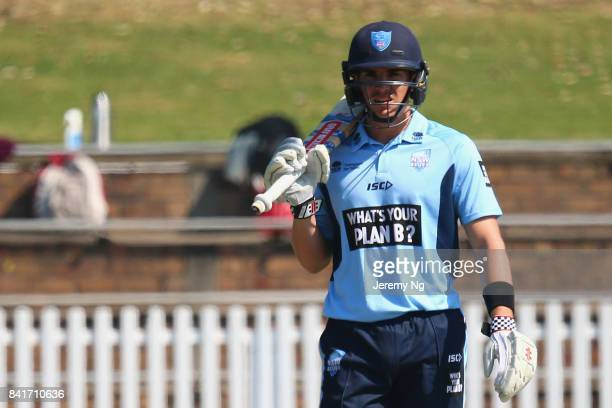 Sean Abbott of Cricket NSW looks on during the Cricket NSW Intra Squad Match at Hurstville Oval on September 2 2017 in Sydney Australia