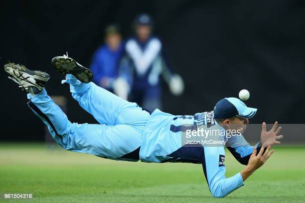 Sean Abbott of NSW drops a catch during the JLT One Day Cup match between New South Wales and Victoria at North Sydney Oval on October 15 2017 in...