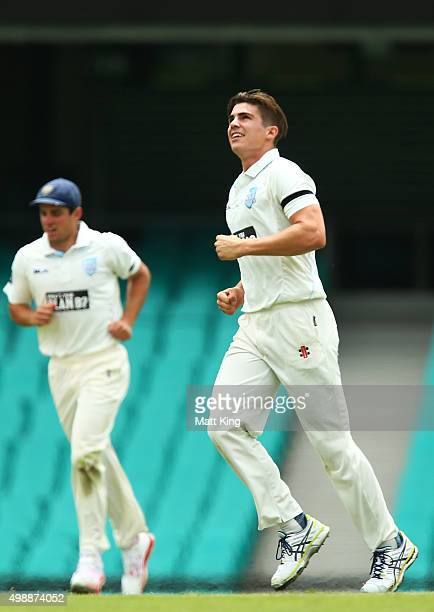 Sean Abbott of the Blues celebrates and looks skyward after taking the wicket of Marnus Labuschagne of the Bulls during day one of the Sheffield...