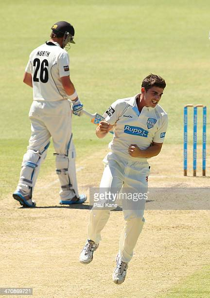 Sean Abbott of the Blues celebrates the wicket of Marcus Harris of the Warriors during day two of the Sheffield Shield match between the Western...
