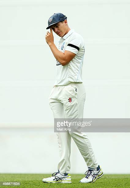 Sean Abbott of the Blues fields during day one of the Sheffield Shield match between New South Wales and Queensland at Sydney Cricket Ground on...
