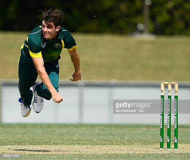 Sean Abbott of the National Performance Squad bowls during the One Day match between South Africa A and the NPS at Tony Ireland Stadium on August 13...