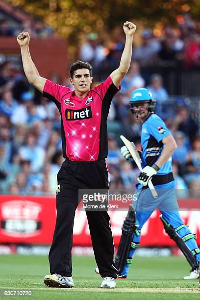 Sean Abbott of the Sydney Sixers celebrates after getting his fifth wicket the wicket of Tom Andrews of the Adelaide Strikers during the Big Bash...