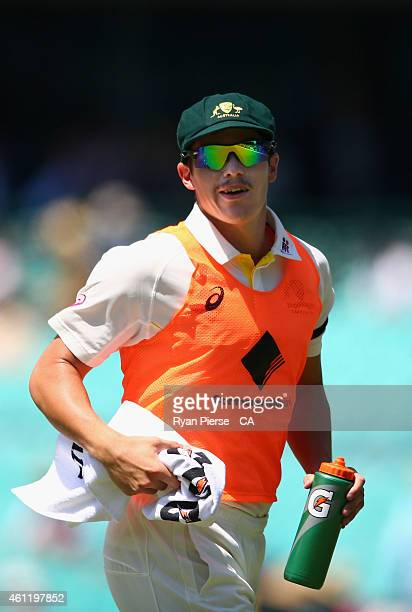 Sean Abbott runs drinks to his team mates during day four of the Fourth Test match between Australia and India at Sydney Cricket Ground on January 9...