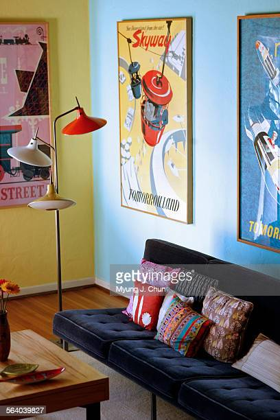 Sean Adams a gifted graphic artist has re–imagined his 1929 Spanish–style home in Los Angeles with his contemporary colorful aesthetic His living...