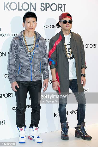Sean and Jinu of boy band Jinusean attend the Kolon Sport 2015 SS Collection on January 29 2015 in Seoul South Korea