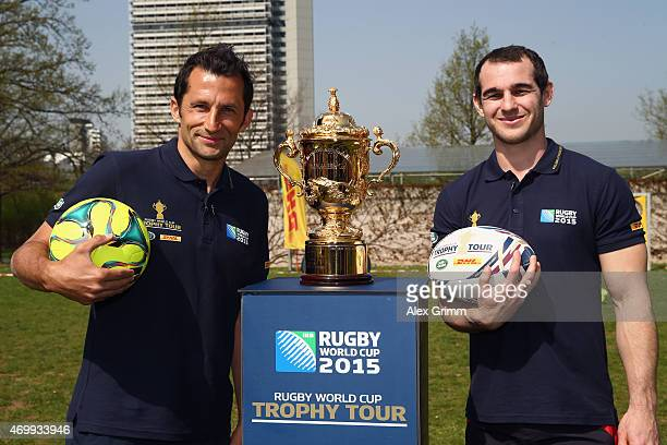 Sean Armstrong and Hasan Salihamidzic take part in DHL's Rugby vs The World Challenge during the Rugby World Cup Trophy Tour delivered in partnership...