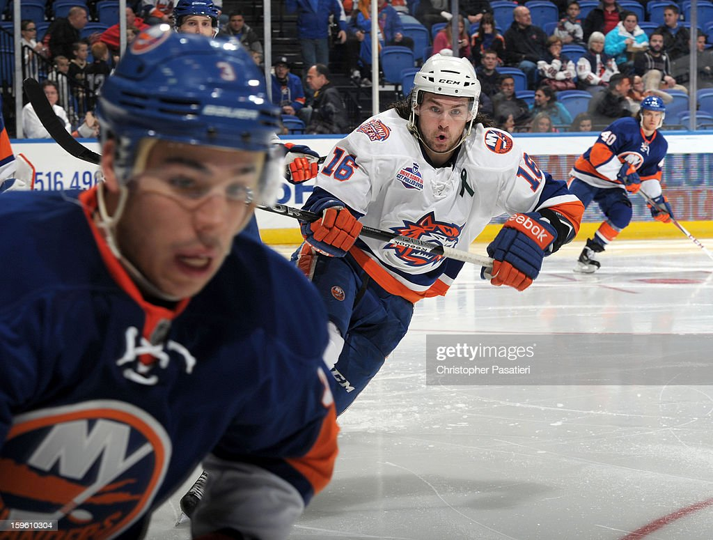 Sean Backman #16 of Team White skates during a scrimmage match between players of the New York Islanders and Bridgeport Sound Tigers on January 16, 2013 at Nassau Veterans Memorial Coliseum in Uniondale, New York.