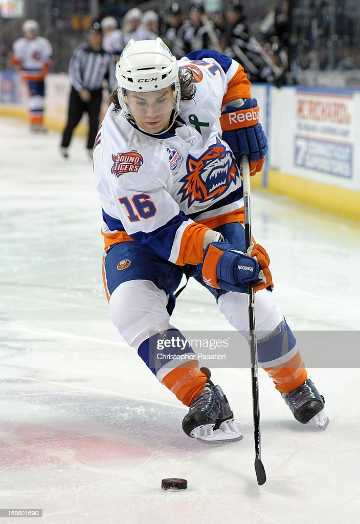 Sean Backman #16 of the Bridgeport Sound Tigers controls the puck during an American Hockey League game against the Manchester Monarchs on December 29, 2012 at the Webster Bank Arena at Harbor Yard in Bridgeport, Connecticut.