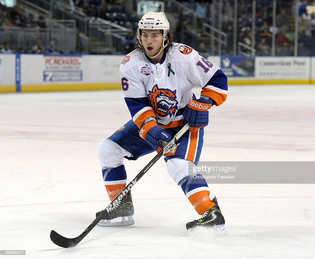 Sean Backman of the Bridgeport Sound Tigers skates during an American Hockey League against the Norfolk Admirals game on February 2 2013 at the...