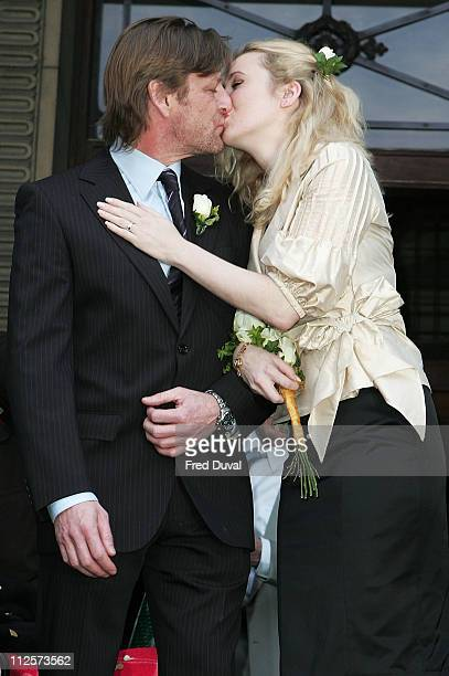 Sean Bean marries Georgina Sutcliffe at Westminister Register Office in Marylebone on February 19 2008 in London England