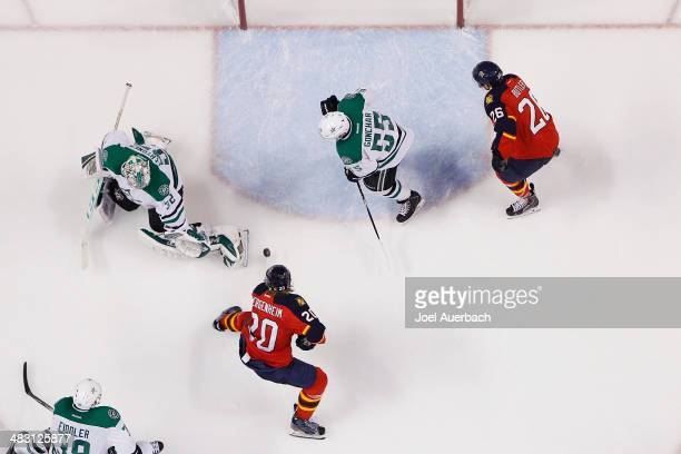 Sean Bergenheim of the Florida Panthers shoots the puck past goaltender Kari Lehtonen of the Dallas Stars for the gameinning goal in the third period...