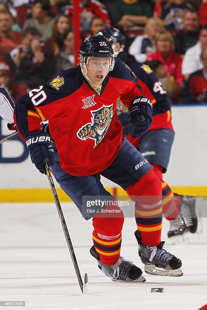 Sean Bergenheim #20 of the Florida Panthers skates with the puck against the Columbus Blue Jackets at the BB&T Center on April 12, 2014 in Sunrise, Florida.