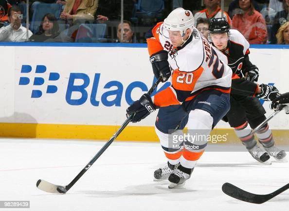 Sean Bergenheim of the New York Islanders skates against the Philadelphia Flyers on April 1 2010 at Nassau Coliseum in Uniondale New York Islanders...