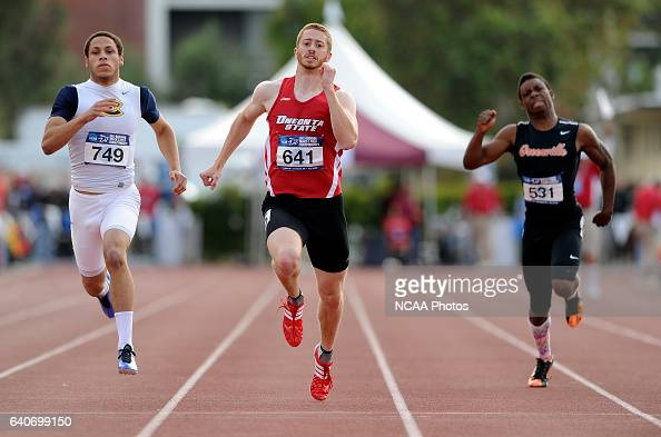 Sean Bernstein of Oneonta State races to the finish line of the 200 meter race during the Division III Men's and Women's Outdoor Track and Field...