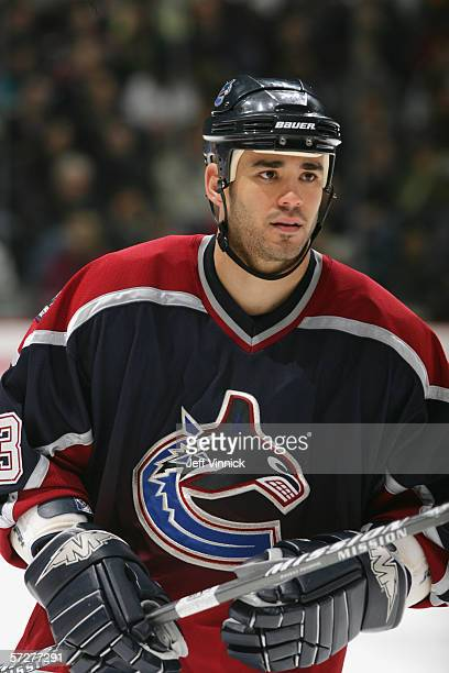 Sean Brown of the Vancouver Canucks looks on during the NHL game against the Edmonton Oilers on March 23 2006 at General Motors Place in Vancouver...