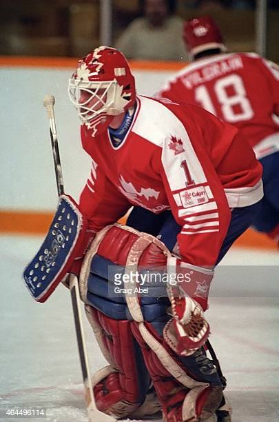 Sean Burke of Team Canada takes warmup prior to a game against Team USA during a warmup game for the 1988 Olympics on January 18 1988 at Maple Leaf...