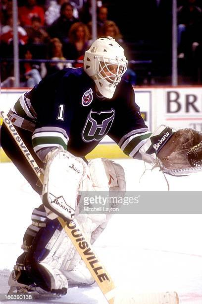 Sean Burke of the Hartford Whalers in position during a hockey game against the Washington Capitals on March 19 1993 at USAir Arena in Landover...