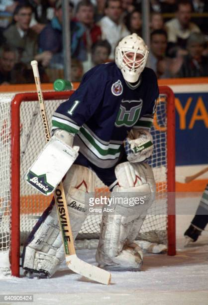 Sean Burke of the Hartford Whalers prepares for a shot against the Toronto Maple Leafs during NHL game action on March 10 1993 at Maple Leaf Gardens...