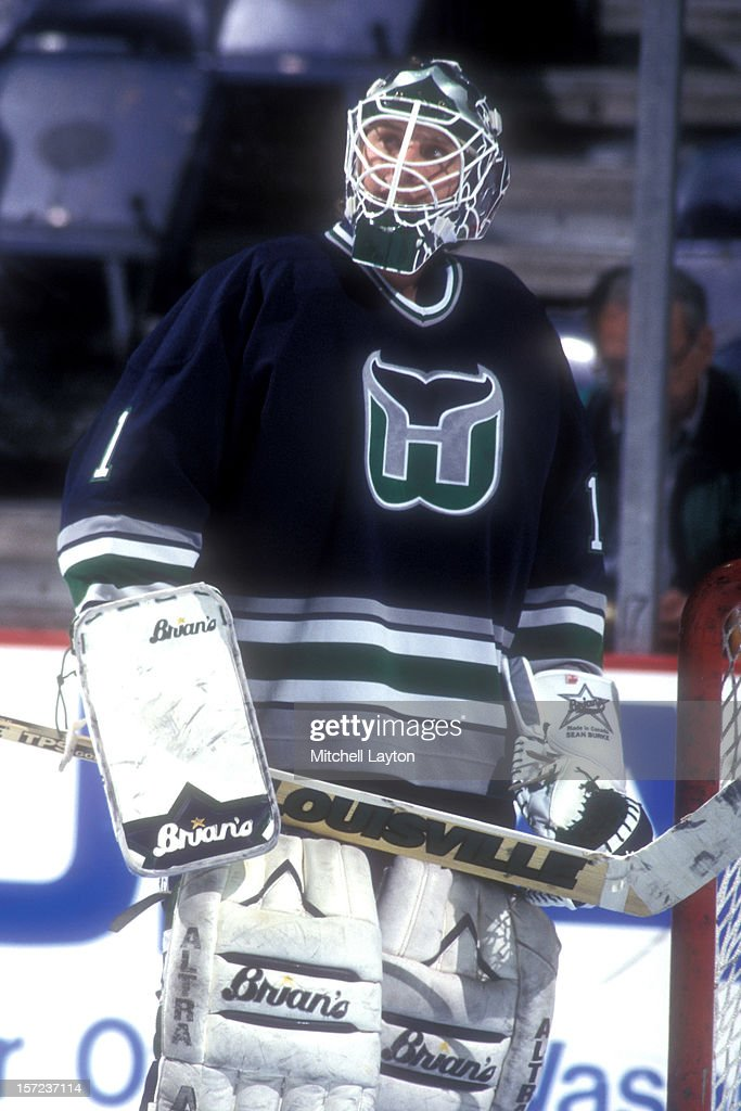 <a gi-track='captionPersonalityLinkClicked' href=/galleries/search?phrase=Sean+Burke&family=editorial&specificpeople=204179 ng-click='$event.stopPropagation()'>Sean Burke</a> #1 of the Hartford Whalers skates during warm ups of a hockey game against the Washington Capitals on December 30, 1995 at USAir Arena in Landover, Maryland. The Capitals won 3-0.