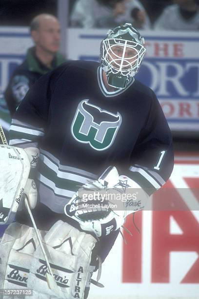 Sean Burke of the Hartford Whalers skates during warm ups of a hockey game against the Washington Capitals on December 30 1995 at USAir Arena in...