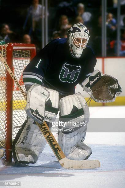 Sean Burke of the Hatford Whalers in position during a hockey game against the Washington Capitals on December 7 1993 at the USAir Arena in Landover...
