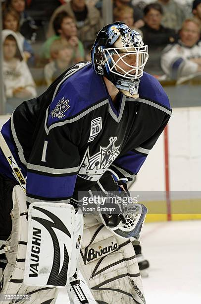 Sean Burke of the Los Angeles Kings looks on against the Phoenix Coyotes on January 20 2007 at Staples Center in Los Angeles California The Coyotes...