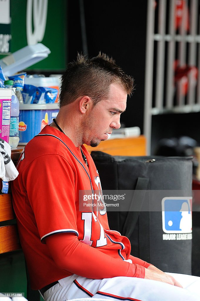 <a gi-track='captionPersonalityLinkClicked' href=/galleries/search?phrase=Sean+Burnett&family=editorial&specificpeople=810641 ng-click='$event.stopPropagation()'>Sean Burnett</a> #17 of the Washington Nationals sits in the dugout after being pulled in the seventh inning against the St. Louis Cardinals at Nationals Park on September 2, 2012 in Washington, DC.