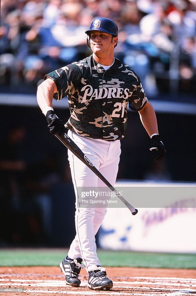 Sean Burroughs of the San Diego Padres bats during the game against the Arizona Diamondbacks on April 8, 2002 at Qualcomm Stadium in San Diego, California.