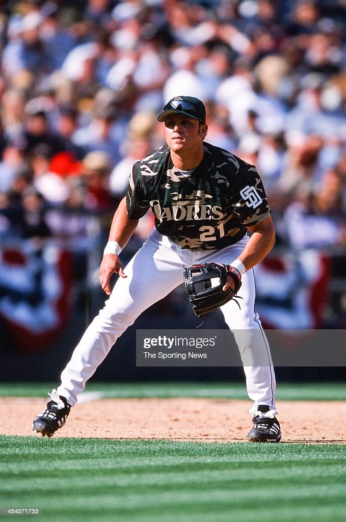 Sean Burroughs of the San Diego Padres during the game against the Arizona Diamondbacks on April 8, 2002 at Qualcomm Stadium in San Diego, California.